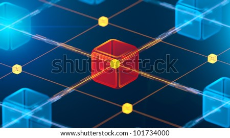Hitech networks with main core - stock photo