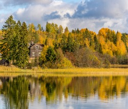 Hitolanyarvi Lake. Karelia, Russia. October 6, 2019.  A sunny day in Karelia.
