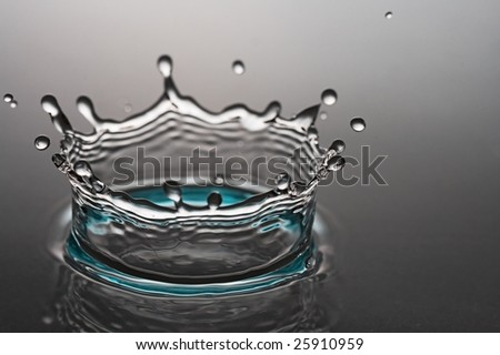 hits of transparent water isolated on gray background