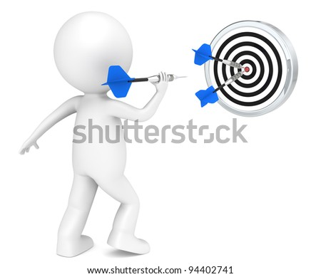 Hitting Target. 3D little human character throwing Dart. Blue arrows. People series.
