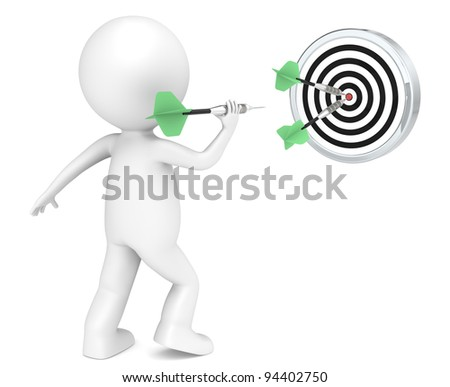 Hitting Target. 3D little human character throwing Dart. Green arrows. People series.