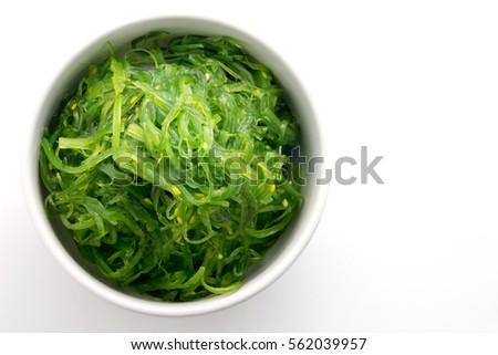Hiyashi Wakame Chuka or seaweed salad in bowl on white background , Japanese food