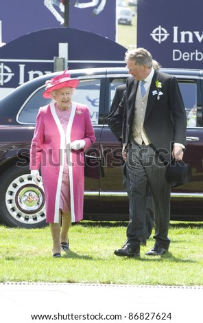 HM Queen Elizabeth II attending The Epsom Derby Meeting at Epsom Downs Racecourse in Surrey. 4th June 2011.  05/06/2011  Picture by: Simon Burchell / Featureflash