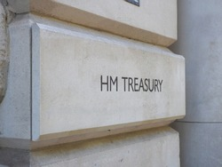 HMRC (Her Majesty Treasury) sign in London, UK