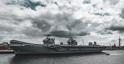 HMS Queen Elizabeth moored in Portsmouth Harbour