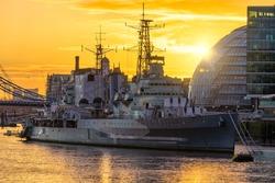 HMS ship at sunrise in London. England