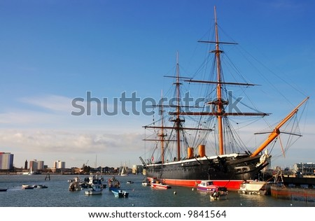 HMS Warrior, built in 1860, the world's first ironclad warship, Portsmouth, Southern England