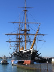 HMS Warrior. The worlds first iron clad steam powered (although sails were also used)  warship. Built in 1860, it was a formidable opponent.