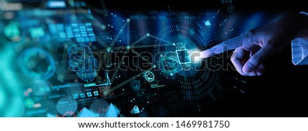 Hnad working with Digital transformation change management and internet of things (IoT) Ui. #1469981750