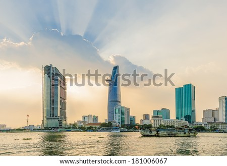 HO CHI MINH CITY - FEB 22: Stunning skyscape at sunset on the Center of Ho chi Minh City on Feb 22, 2014.