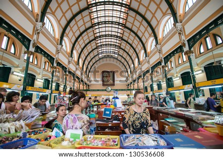 HO CHI MINH CITY - FEB 23 : The officers worked in the post office in Ho Chi Minh City, Vietnam on February 23, 2013.It was built during 1886 -1891 and It is the largest post office in Vietnam.