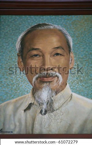HO CHI MINH CITY - NOV 13: Portrait of Ho Chin Minh, communist leader of the Vietcong during the Vietnam war, picture taken on November 13 2007 in Saigon (Ho Chin Minh City), Vietnam