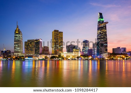 Ho Chi Minh city skyline aerial panoramic view at night. Ho Chi Minh is the largest city in Vietnam. #1098284417