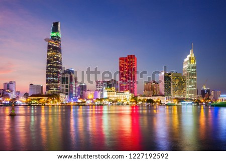 Ho Chi Minh city skyline aerial panoramic view at night. Ho Chi Minh is the largest city in Vietnam. #1227192592