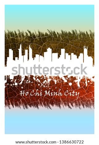 Ho Chi Minh City skyline Blue and White Foto stock ©