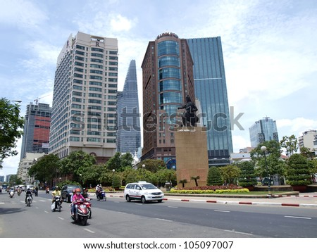 HO CHI MINH CITY, VIETNAM - APRIL 11: New and modern buildings in Ho Chi Minh City shows the dynamic progress of the Vietnamese culture and technology on April 11, 2012 in Ho Chi Minh city, Vietnam