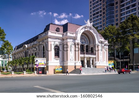 HO CHI MINH CITY, VIETNAM-DECEMBER 17 : Saigon Opera House or Municipal Theatre in Ho Chi Minh City, Vietnam on December 17, 2012. Built in 1897 by French architect Ferret Eugene.