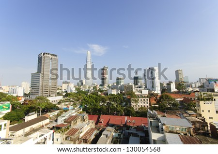 HO CHI MINH CITY, VIETNAM - FEBRUARY 16: Aerial view of Ho Chi Minh City on February 16, 2013 in Ho Chi Minh City, Vietnam.Ho Chi Minh City is the biggest city in Vietnam with 7.1 million inhabitants.