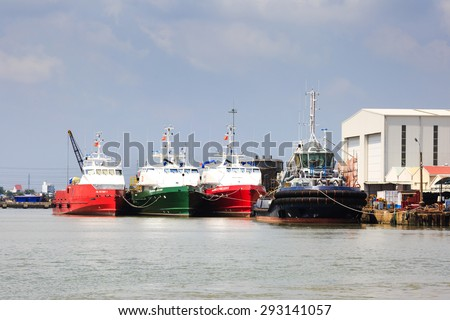 Ho Chi Minh City, Vietnam - June 27, 2015 - a ship repair factory is operating on a river in HoChiMinh City, Vietnam