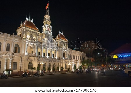 HO CHI MINH CITY, VIETNAM - MARCH 7: Ho Chi Minh City Hall on March 7, 2009 in Ho Chi Minh City. Built in French colonial style it was Saigon�s most iconic building and known as Hotel de Ville.