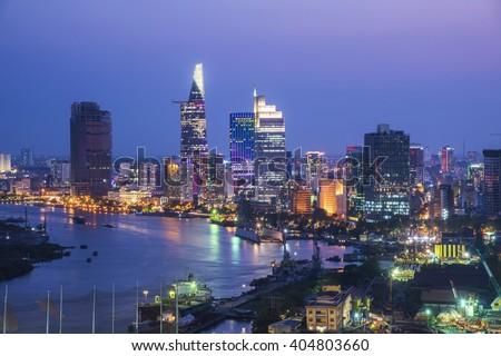 "stock photo ho chi minh city view at night 404803660 - Каталог - Фотообои ""Города"""