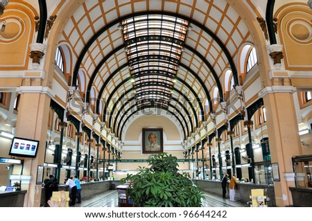 HO CHI MINH - JANUARY 12: Interior of Saigon center post office which have over 130 years history on January 12, 2012 in Ho Chi Minh City. Ho Chi Minh is the biggest city in Southern of Vietnam - stock photo