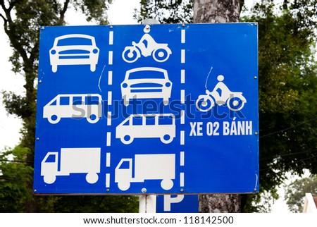 ho chi minh saigon south vietnam showing typical vietnamese road sign