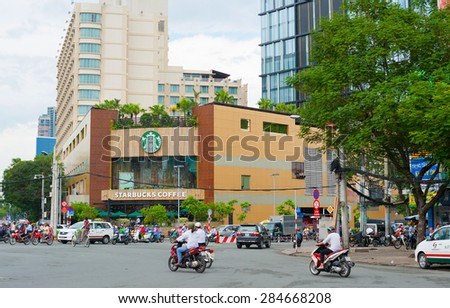 HO CHI MINH, VIETNAM - JULY 5, 2014: Starbucks coffee store facade in Le Lai Street. Starbucks is the largest coffeehouse company in the world with 23,305 stores in 65 countries and territories.