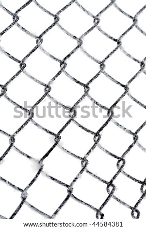 Hoarfrost on chain link fence isolated on white