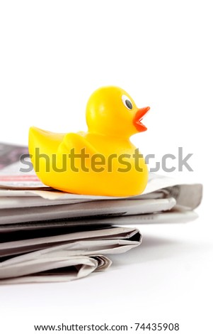 hoax symbol with rubber duck and paper