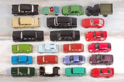 Hobby collection of obsolete die-cast automobile models