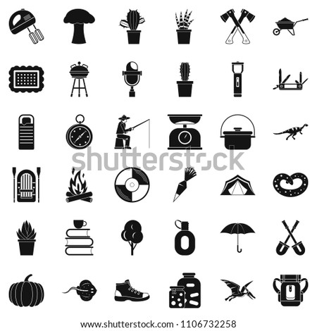 Hobby icons set. Simple style of 36 hobby icons for web isolated on white background