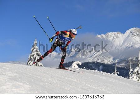 Hochfilzen, Austria - December 15, 2018: Michal Krcmar of Czech competes in the pursuit at the BMW IBU World Cup Biathlon 2 #1307616763