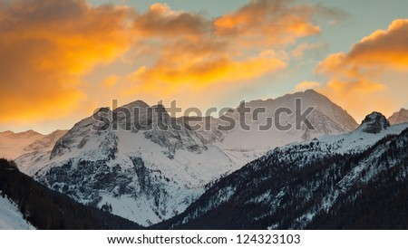 Hochgall Mountain, the highest peak of the Riesenfernergruppe mountain range, in South Tyrol, Italy, at sunrise on a winter day.