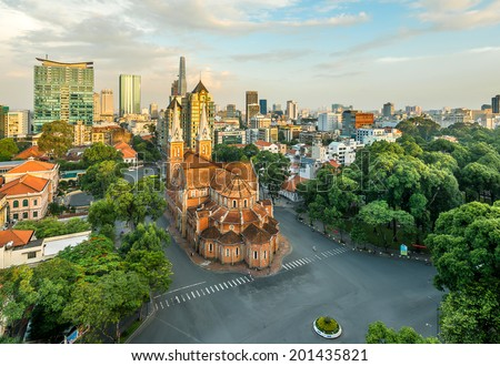 HOCHIMINH CITY, VIETNAM - JUNE 26: Notre Dame Cathedral at city center in Hochiminh city, Vietnam on June, 2014. Hochiminh city is the biggest city and economic center in Vietnam