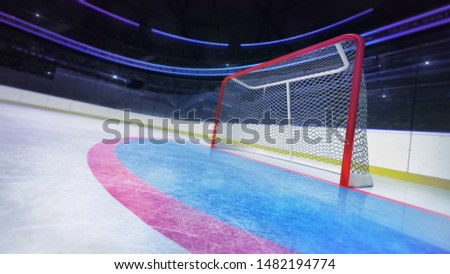 Hockey goal area dynamic closeup in modern sport arena, ice hockey stadium indoor 3D illustration background.