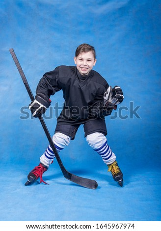 Hockey player, field player in the hockey goalie stance