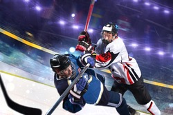 hockey player in action. motion blur. aggressive  attack.