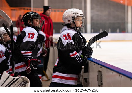 Hockey player. Kids hockey. Childs and sport, a healthy lifestyle