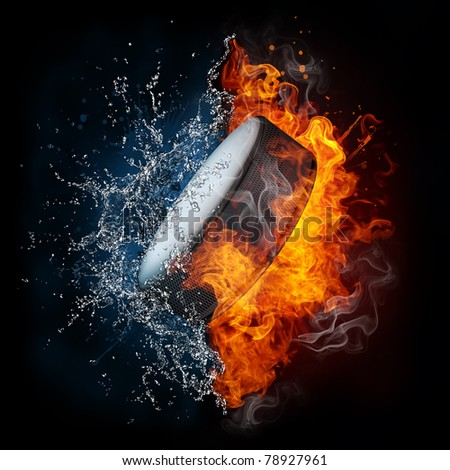 Hockey puck  in fire and water. Illustration of the hockey puck  enveloped in elements isolated on black background. High resolution hockey puck  in fire and water image for a hockey puck game poster.