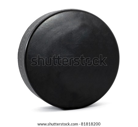 Hockey puck isolated on white