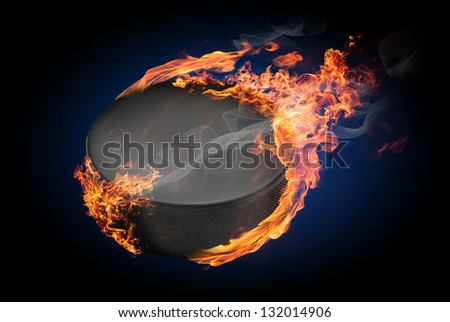Hockey puck on fire flying down - illustration