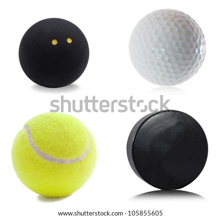 Hockey puck, squash, tennis and golf ball isolated on white background
