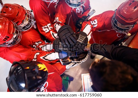 hockey team working on win together strong teamwork