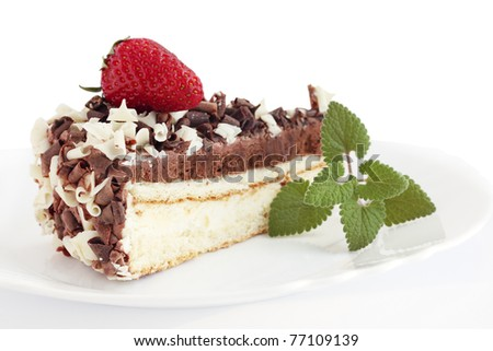 hocolate cake with the strawberries on white background