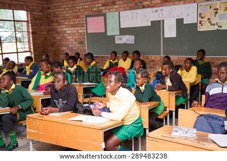 HOEDSPRUIT, SOUTH AFRICA - APRIL 17: school in a small township near the kruger park, the school has been built with international funds april 17, 2015 in Hoedspruit, South Africa