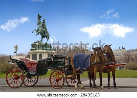 hofburg renaissance Vienna horses carriage bronze statue Karl tourists transportation - stock photo