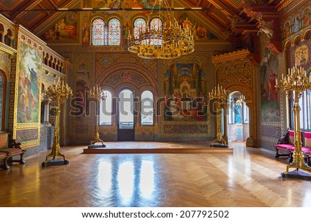 HOHENSCHWANGAU GERMANY 19 JUNE 2014 Interior of the Neuschwanstein Castle in Hohenschwangau in Germany Neuschwanstein castle is a nineteenth-century palace built for Ludwig II of Bavaria