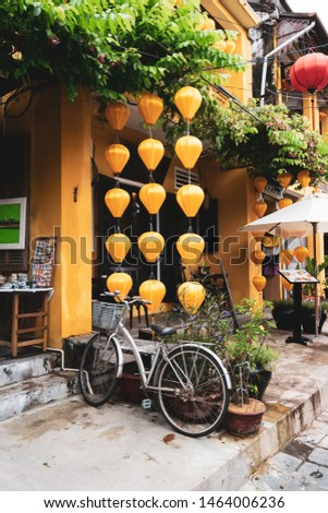 Hoian Ancient town houses. Colourful buildings with festive silk lanterns. Silk lanterns. In Hoi An city, Vietnam