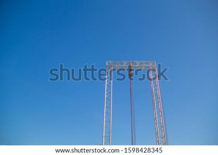 Hoists for lifting,Hoists for lifting and blue skies.